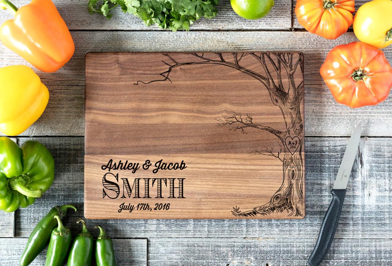Walnut Personalized Cutting Board ~ Love Tree w/Names
