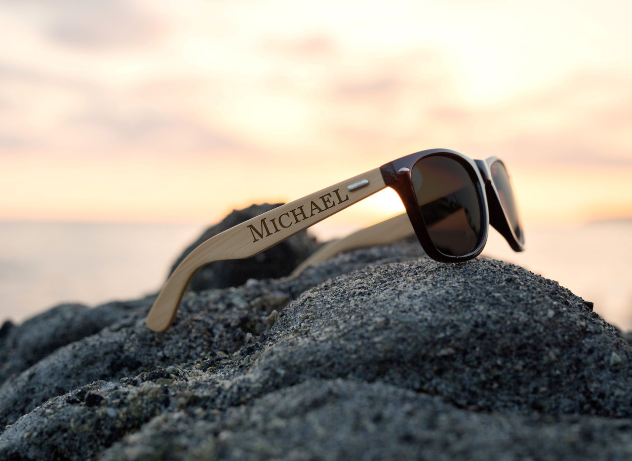 Personalized Bamboo Sunglasses - Name