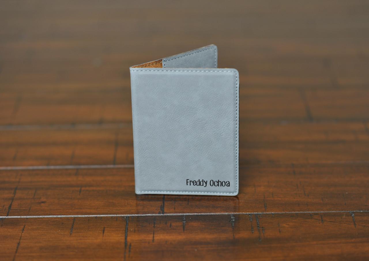 LUX  -  Leather Passport Wallet Holder - Corner Name