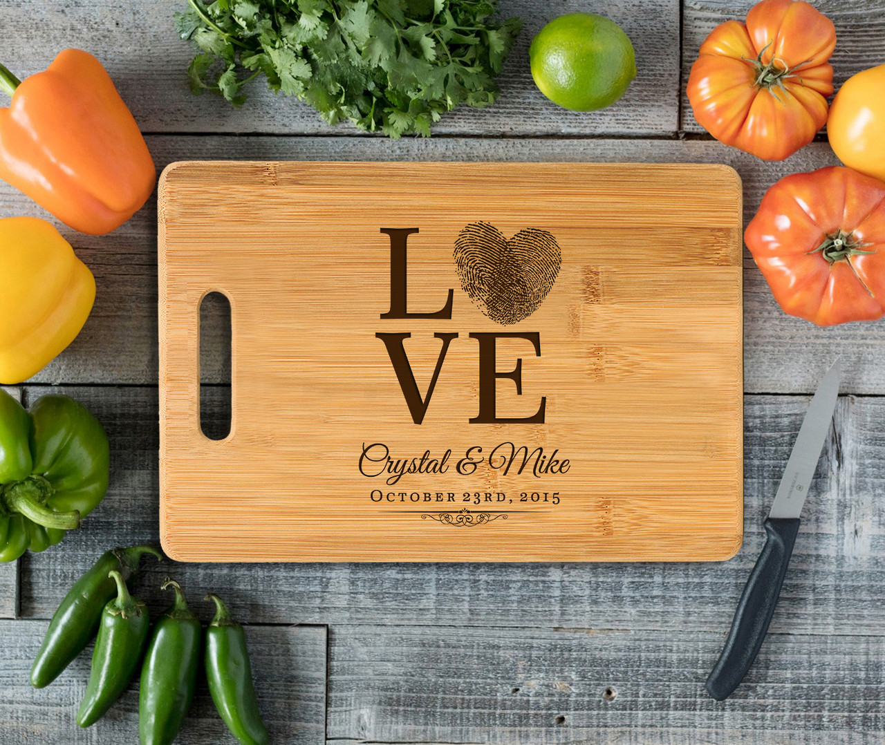 Handle Love Fingerprint Personalized Cutting Board