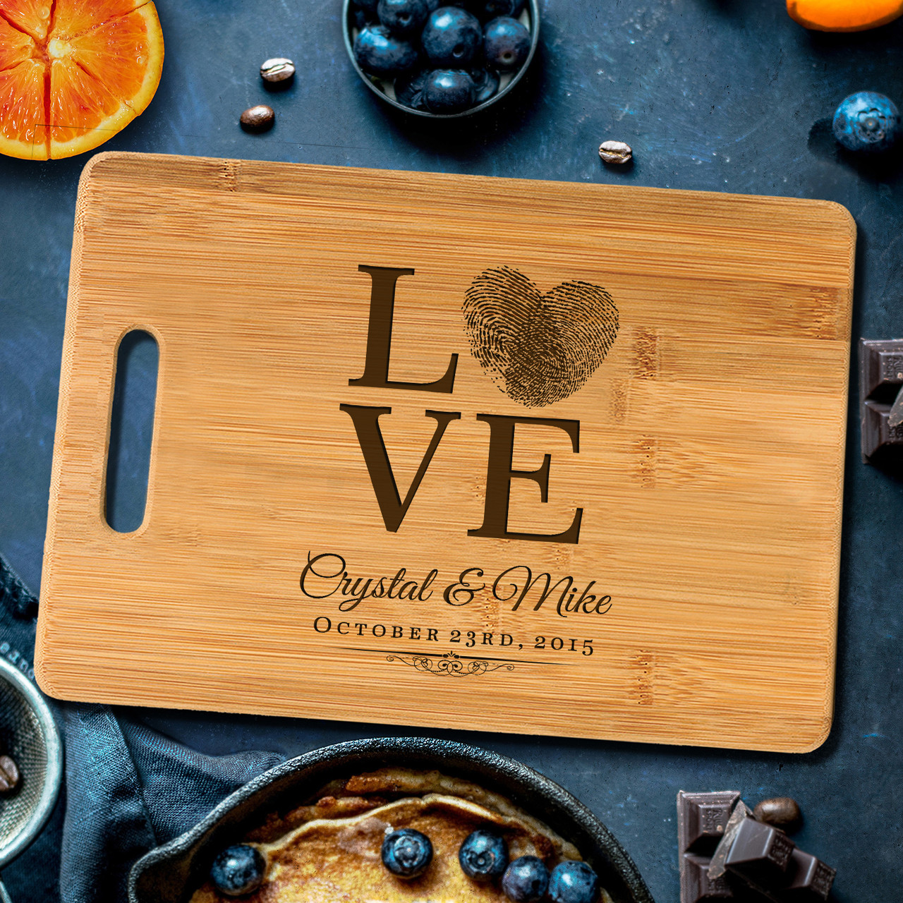 Handle Love Fingerprint Personalized Cutting Board Cabanyco