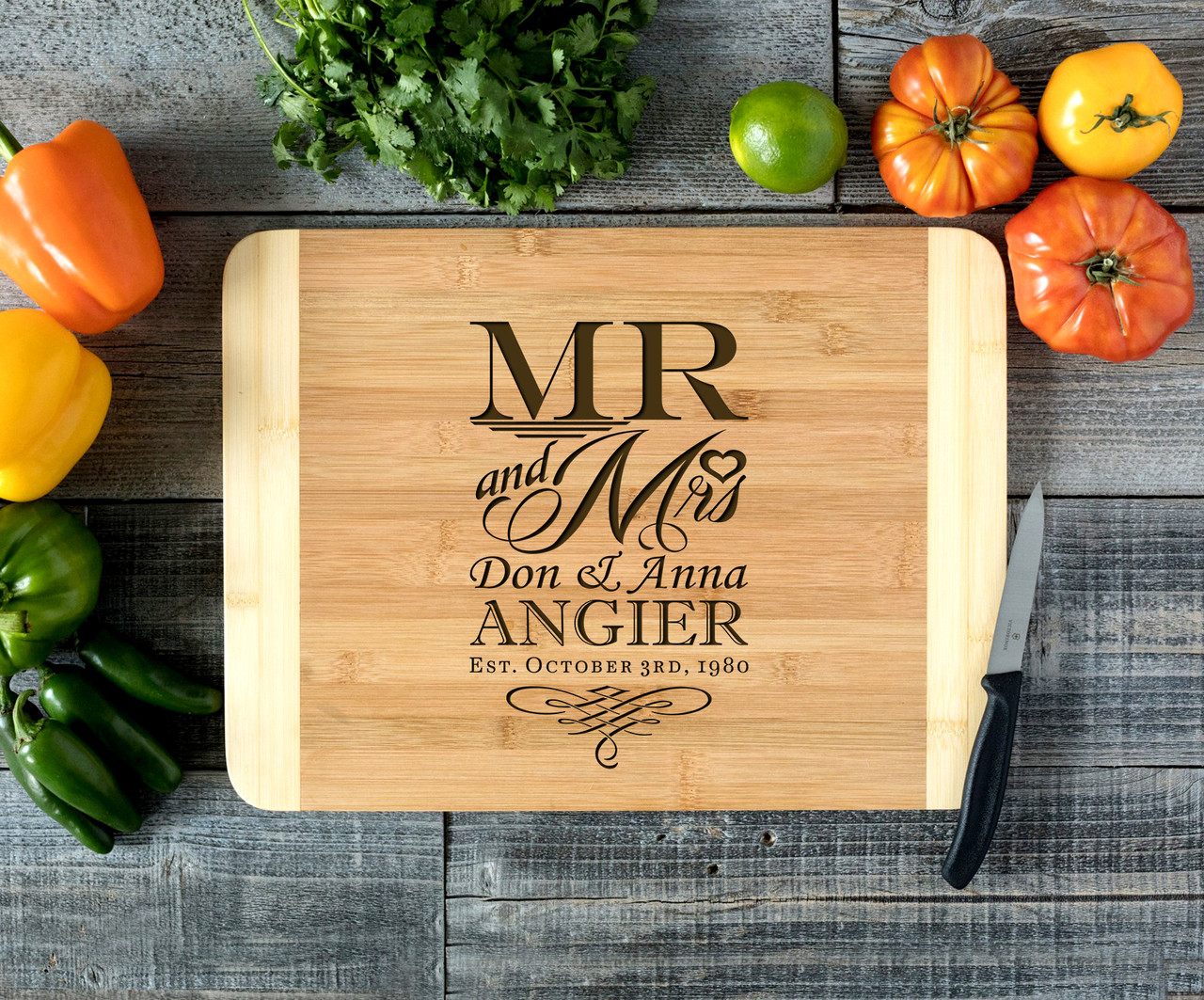 Mr Mrs Stacked Personalized Cutting Board HDS