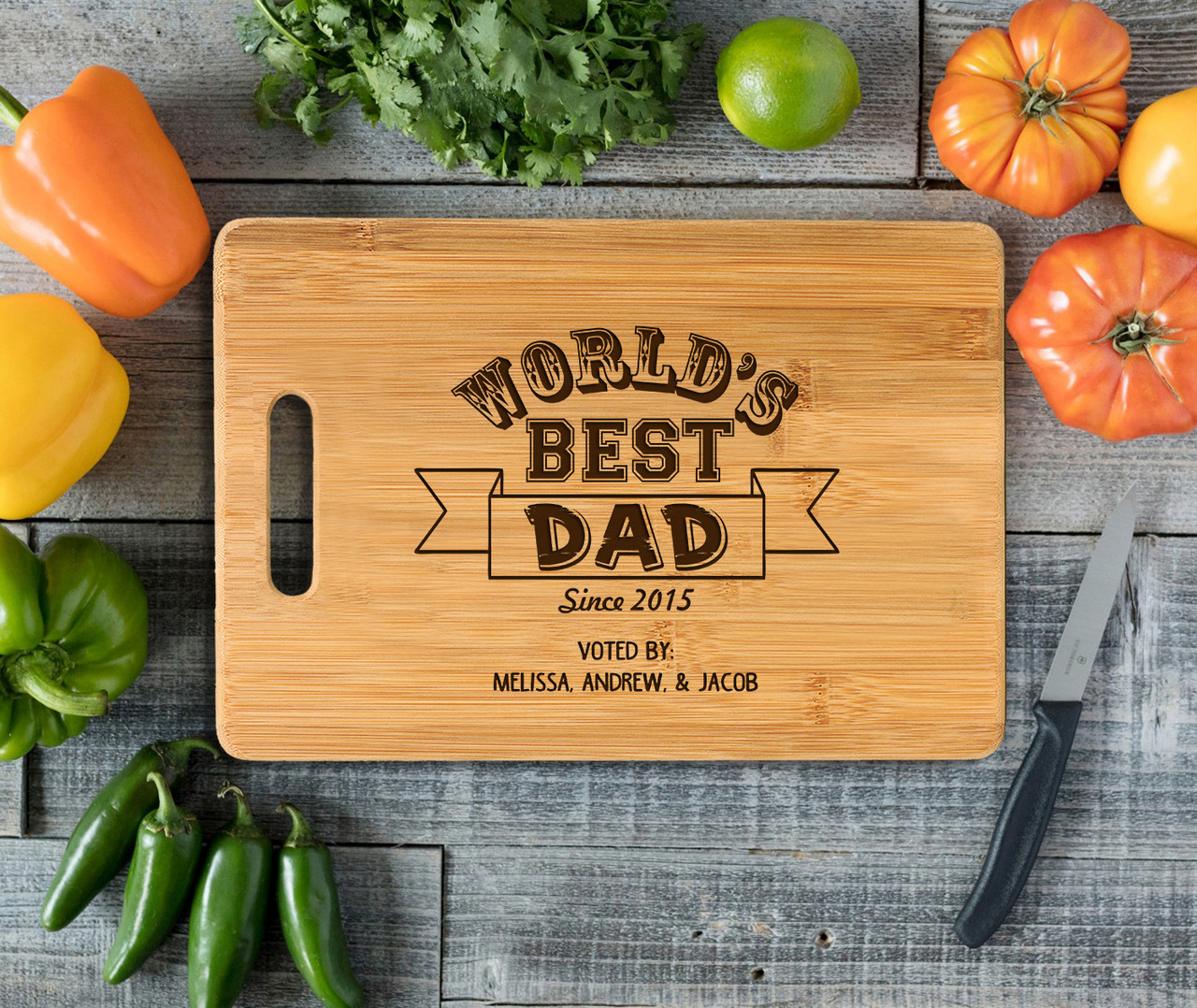 Handle Worlds Best Dad Personalized Cutting Board