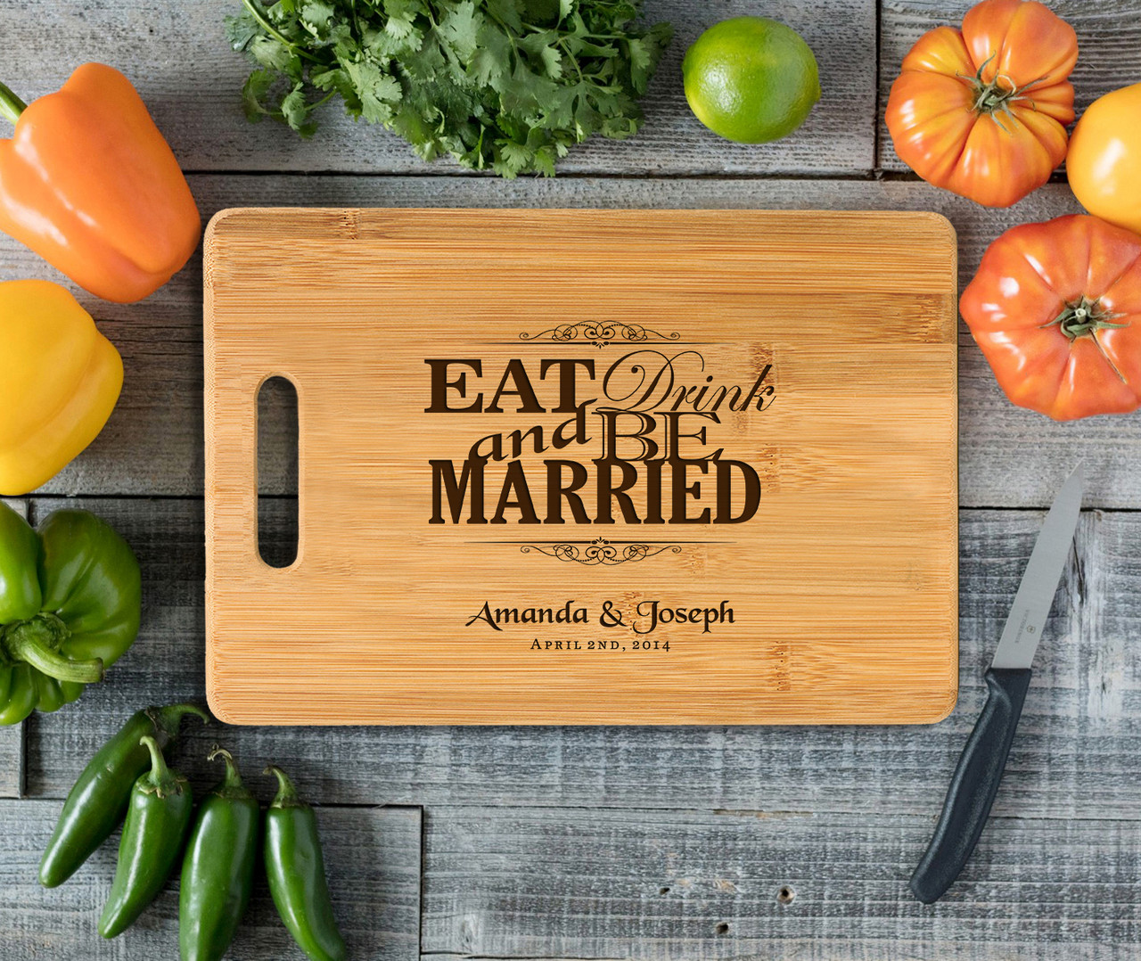 Handle Eat Drink Be Married Personalized Cutting Board