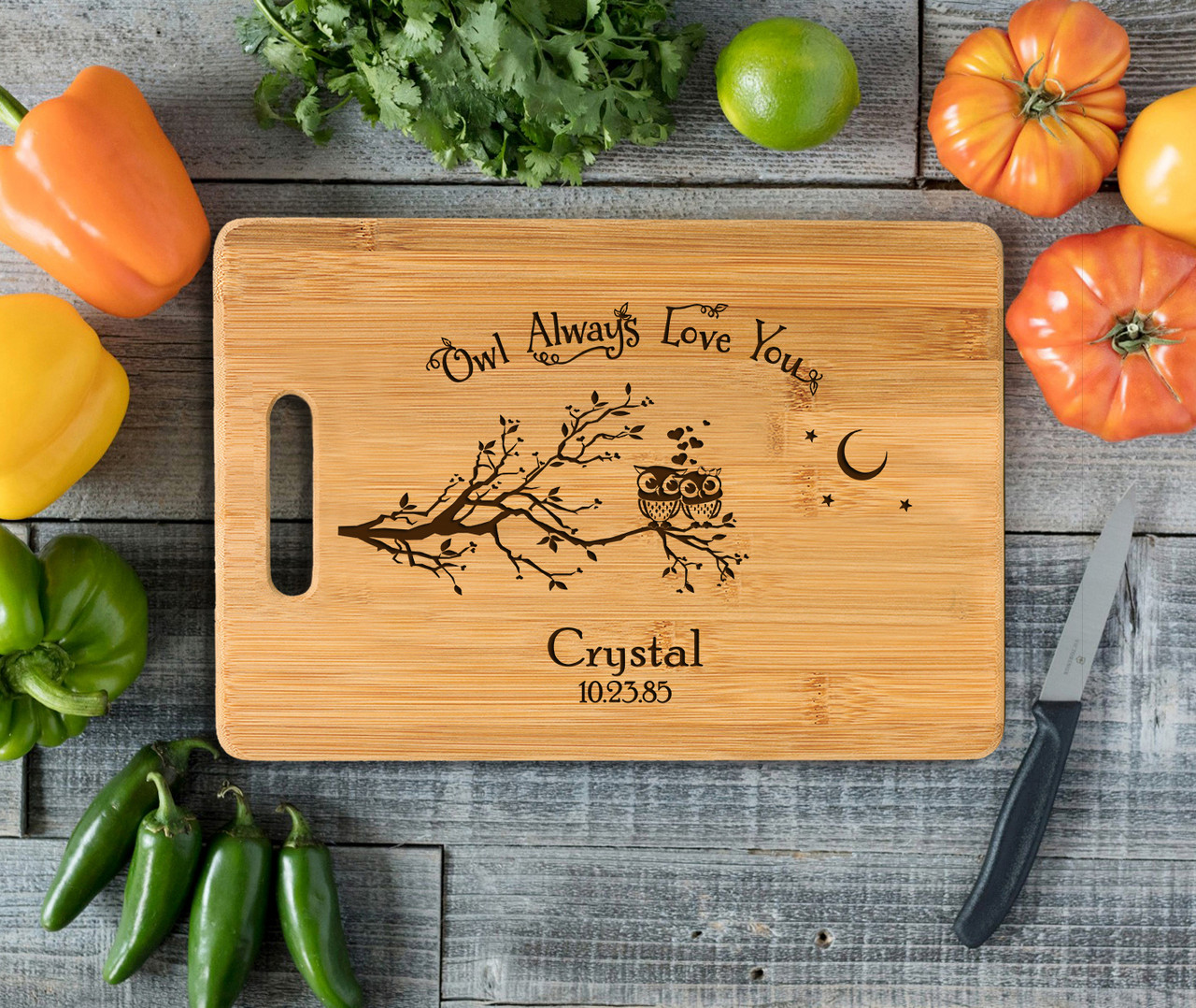Handle Owl Love You Personalized Cutting Board