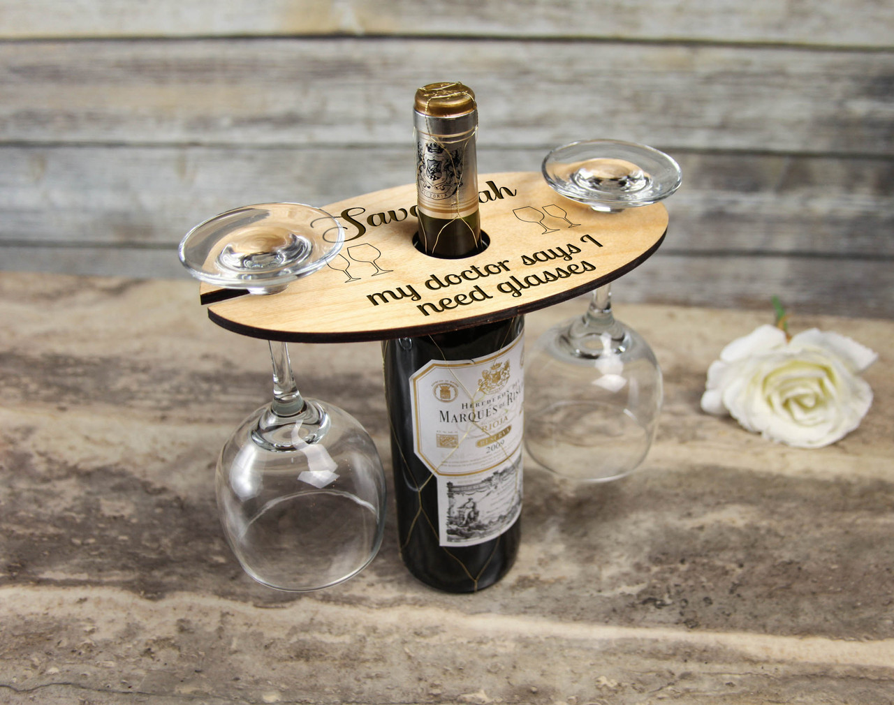 Personalized Wine Caddy & Glass Holder - I Need Glasses