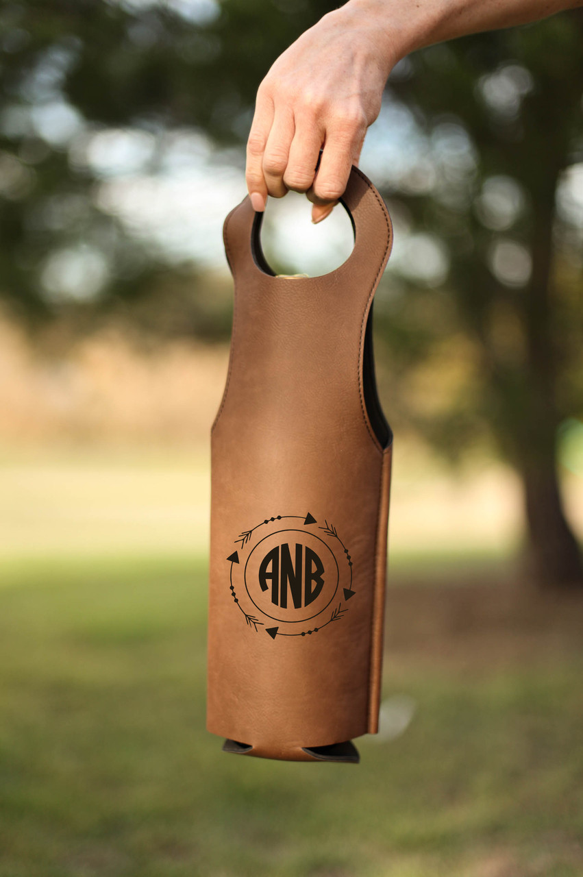 Leather Bottle Tote Bag - Arrow Circle Monogram
