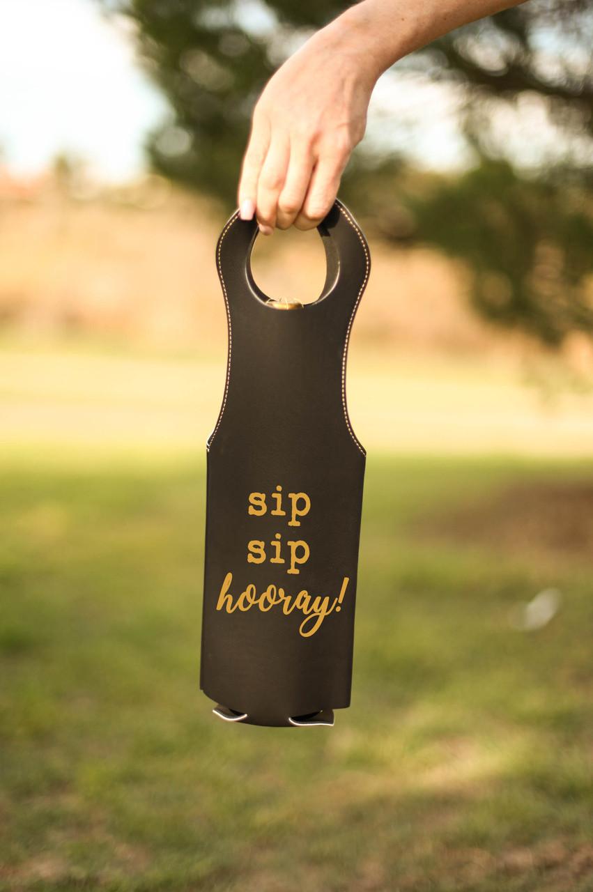 Leather Bottle Tote Bag - Sip Sip Hooray