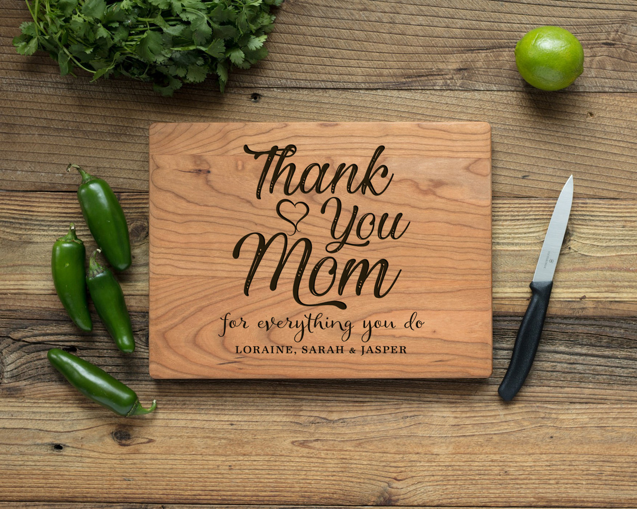 Cherry Personalized Cutting Board - Thank You, Mom