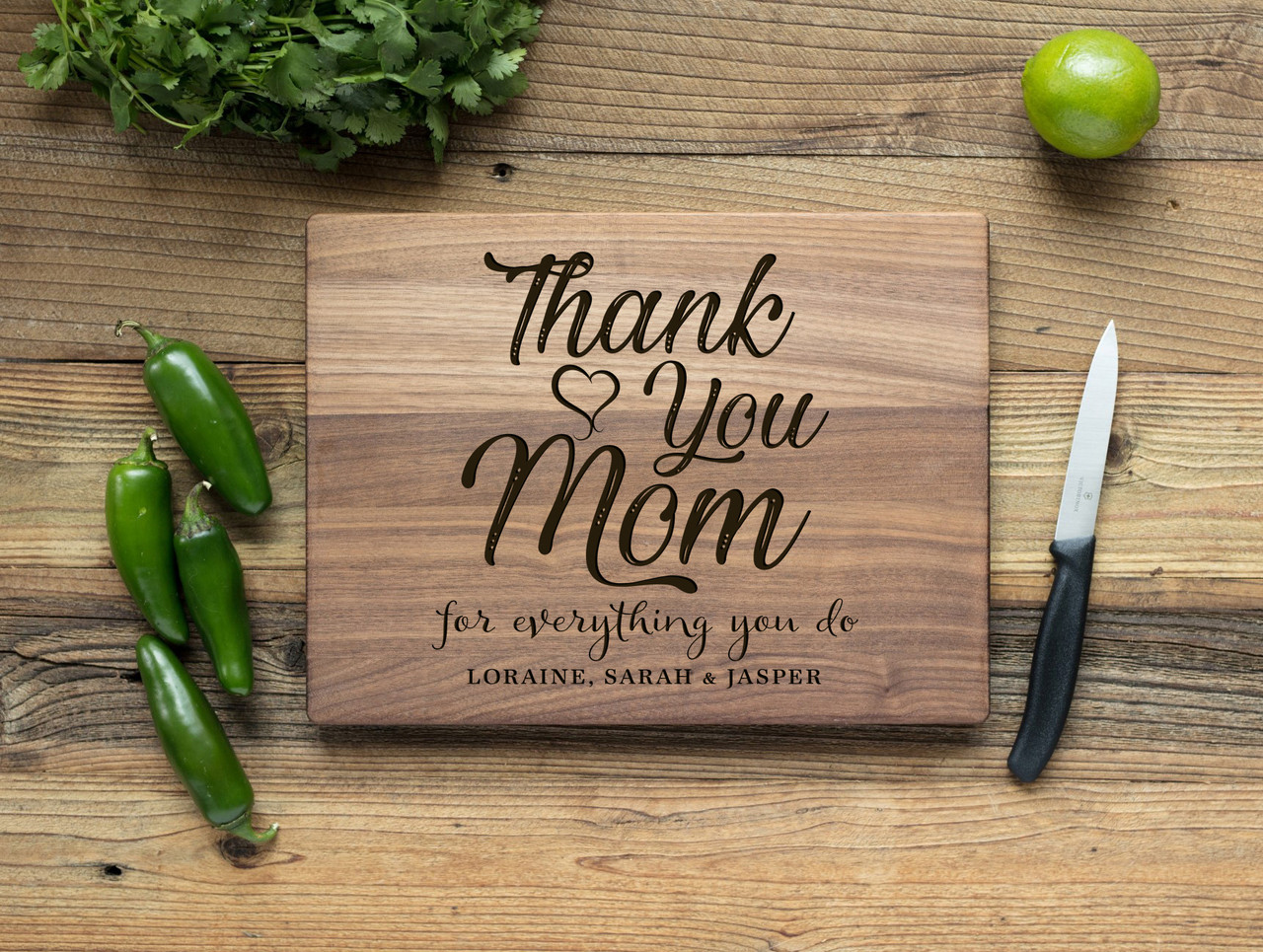 Walnut Personalized Cutting Board - Thank You, Mom