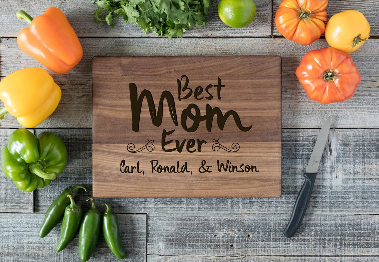 Walnut Personalized Cutting Board - Best Mom Ever