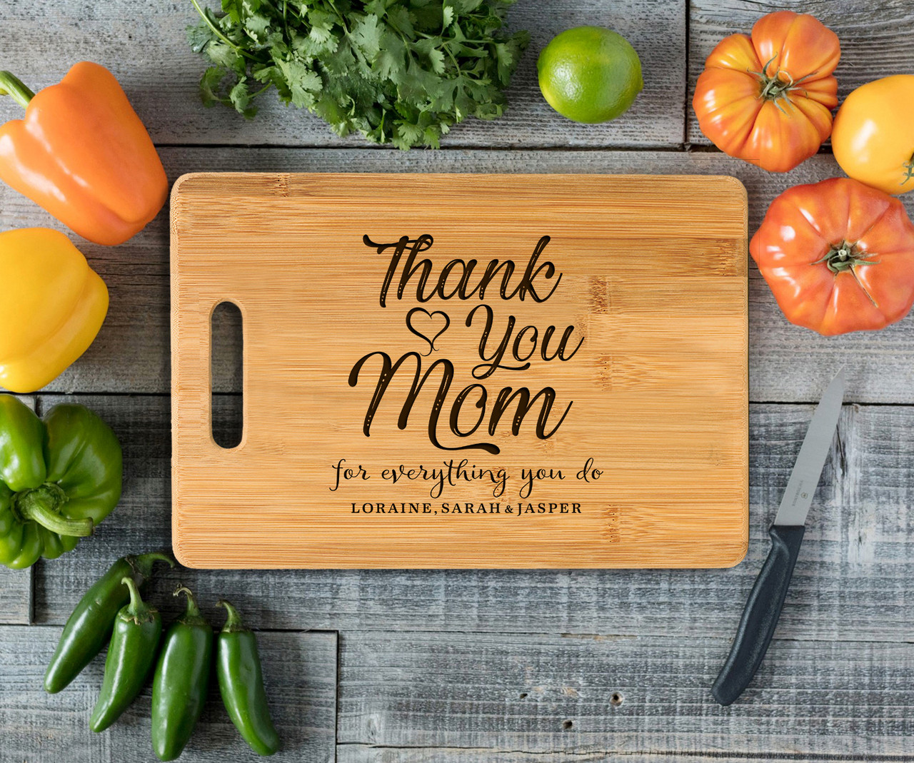 Handle Personalized Cutting Board - Thank You, Mom