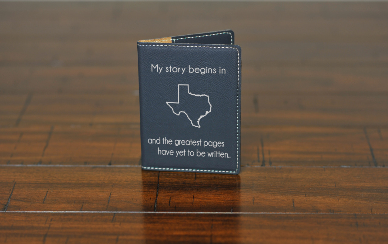 Personalized Leather Passport Wallet Holder - My Story Began