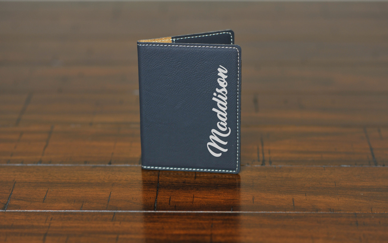 Personalized Leather Passport Wallet Holder - Side Name