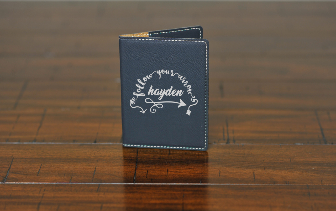 Personalized Leather Passport Wallet Holder - Follow Your Arrow