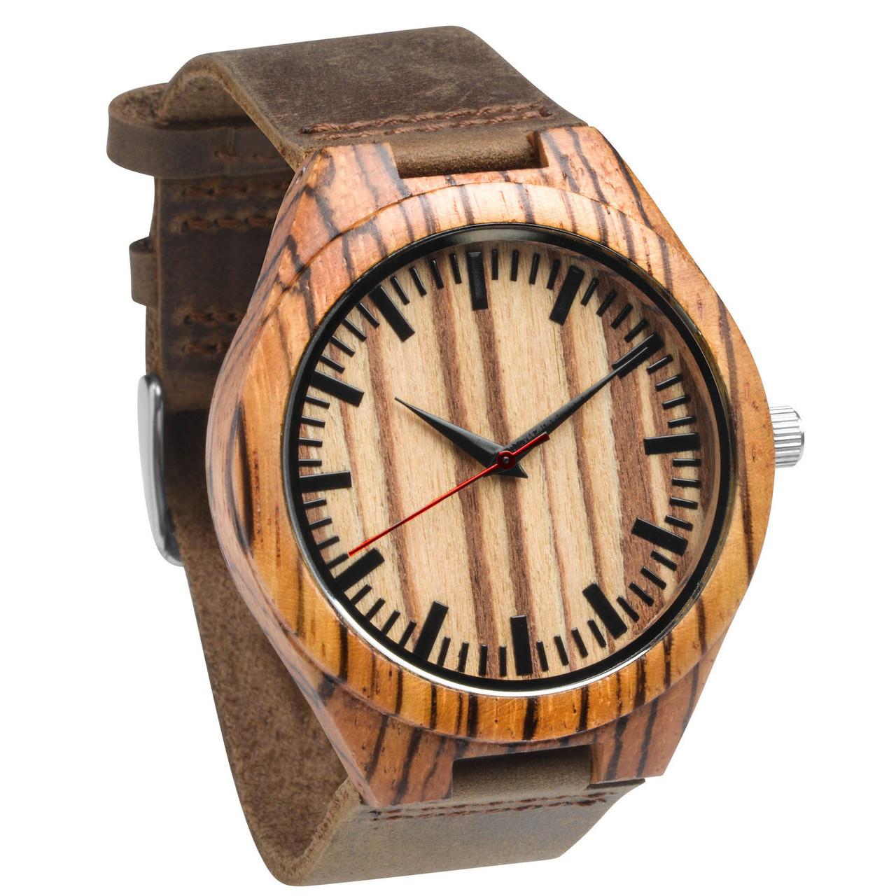 Grpn Spain - Wood Engraved Watch W#76 - Zebrawood