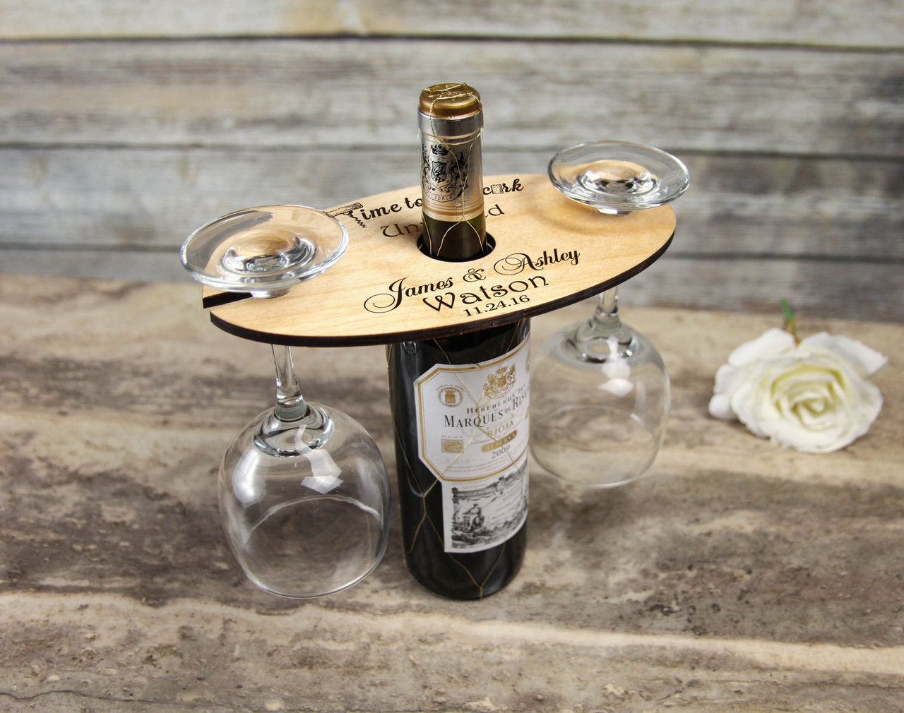 Grpn Spain - Personalized Wine Caddy & Glass holder - Time to uncork