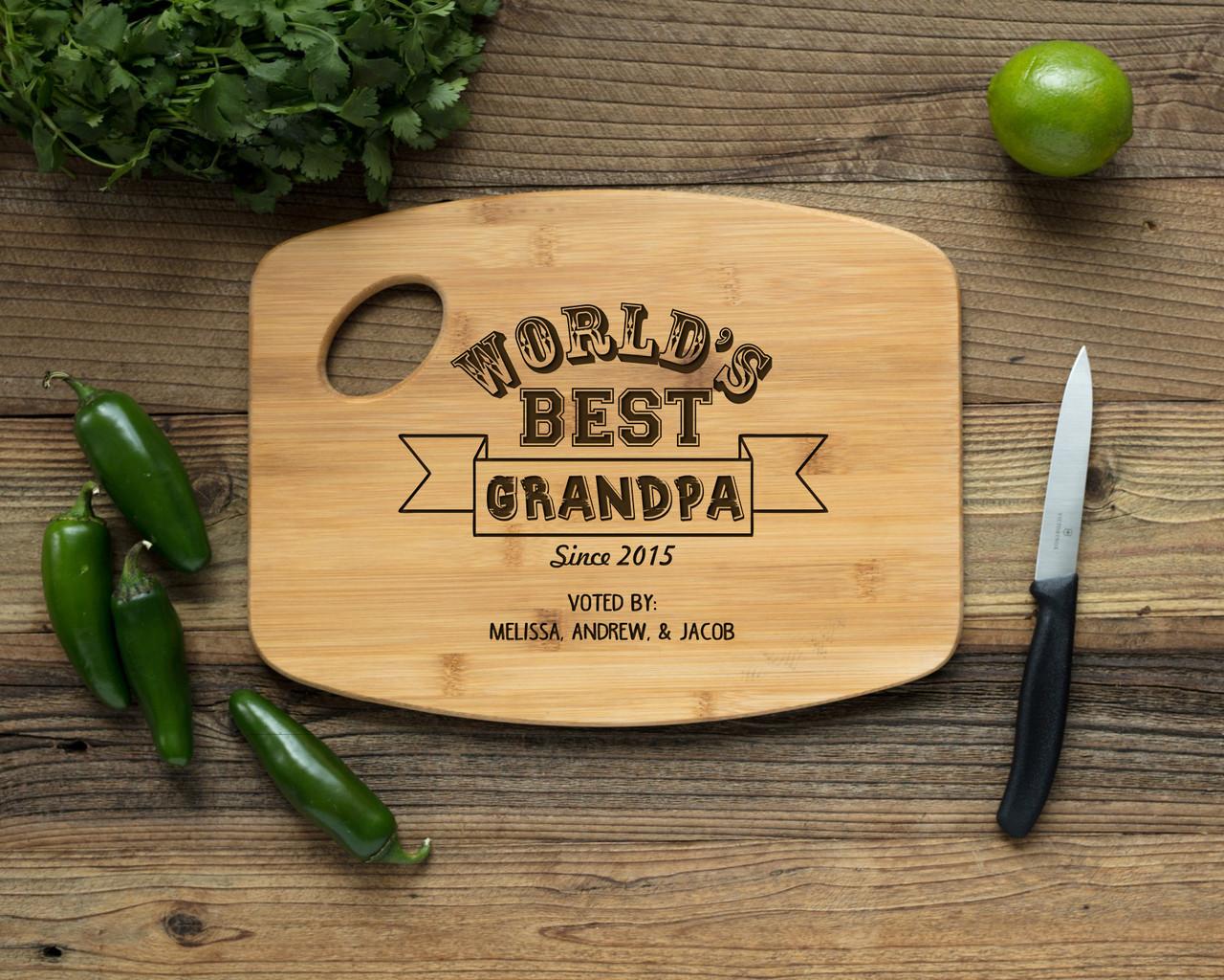 Grpn Spain - Handle Worlds Best Grandpa Personalized Cutting Board