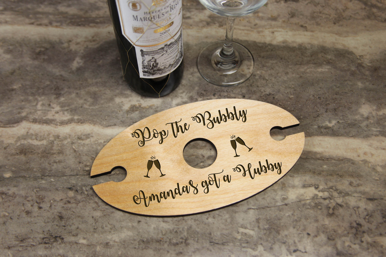 Personalized Wine Caddy & Glass Holder - Pop the Bubbly
