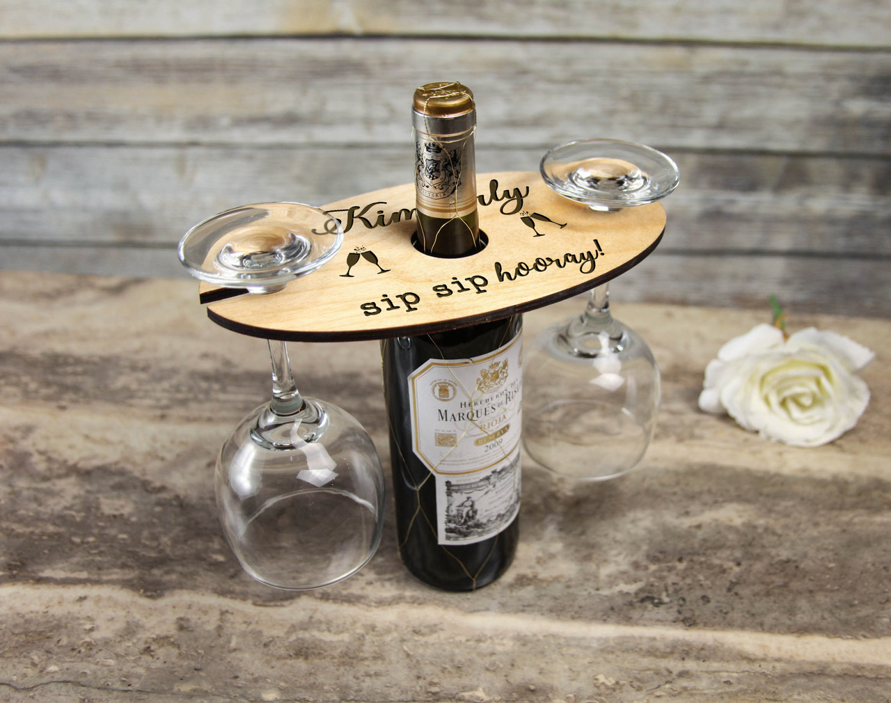 Personalized Wine Caddy & Glass Holder - Sip Sip Hooray