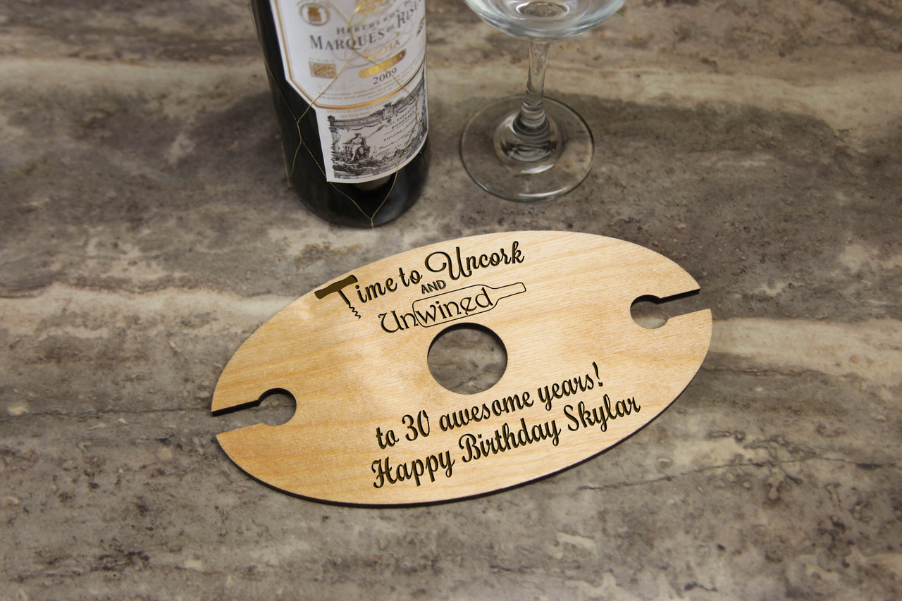 Personalized Wine Caddy & Glass Holder - Happy Birthday
