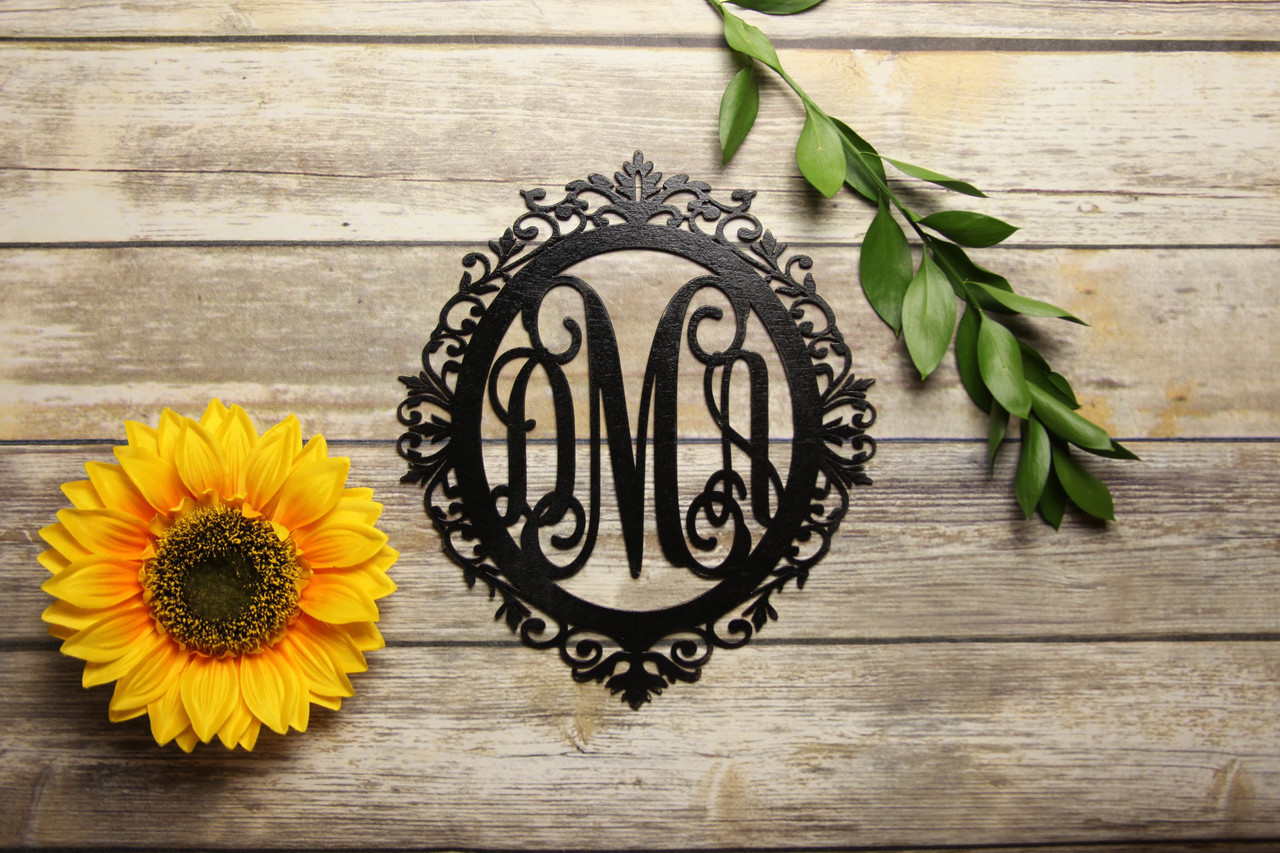 Family Sign - Ornate Monogram Personalized Sign