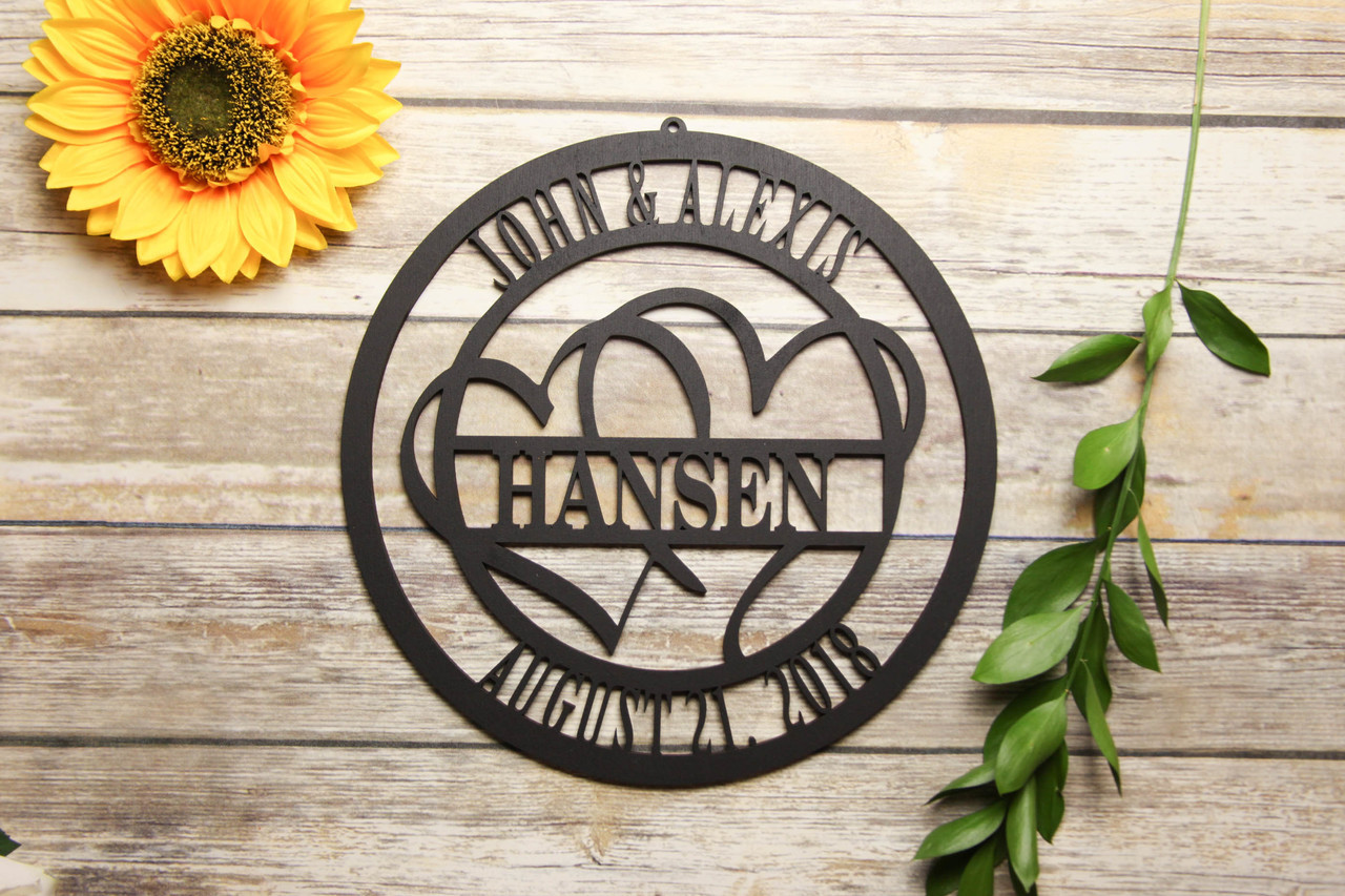 Family Sign - Dual Hearts Personalized Sign