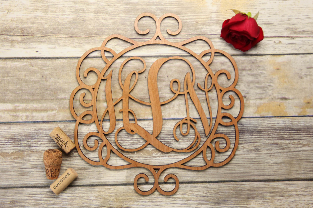 Family Sign - Swirls Monogram Personalized Sign