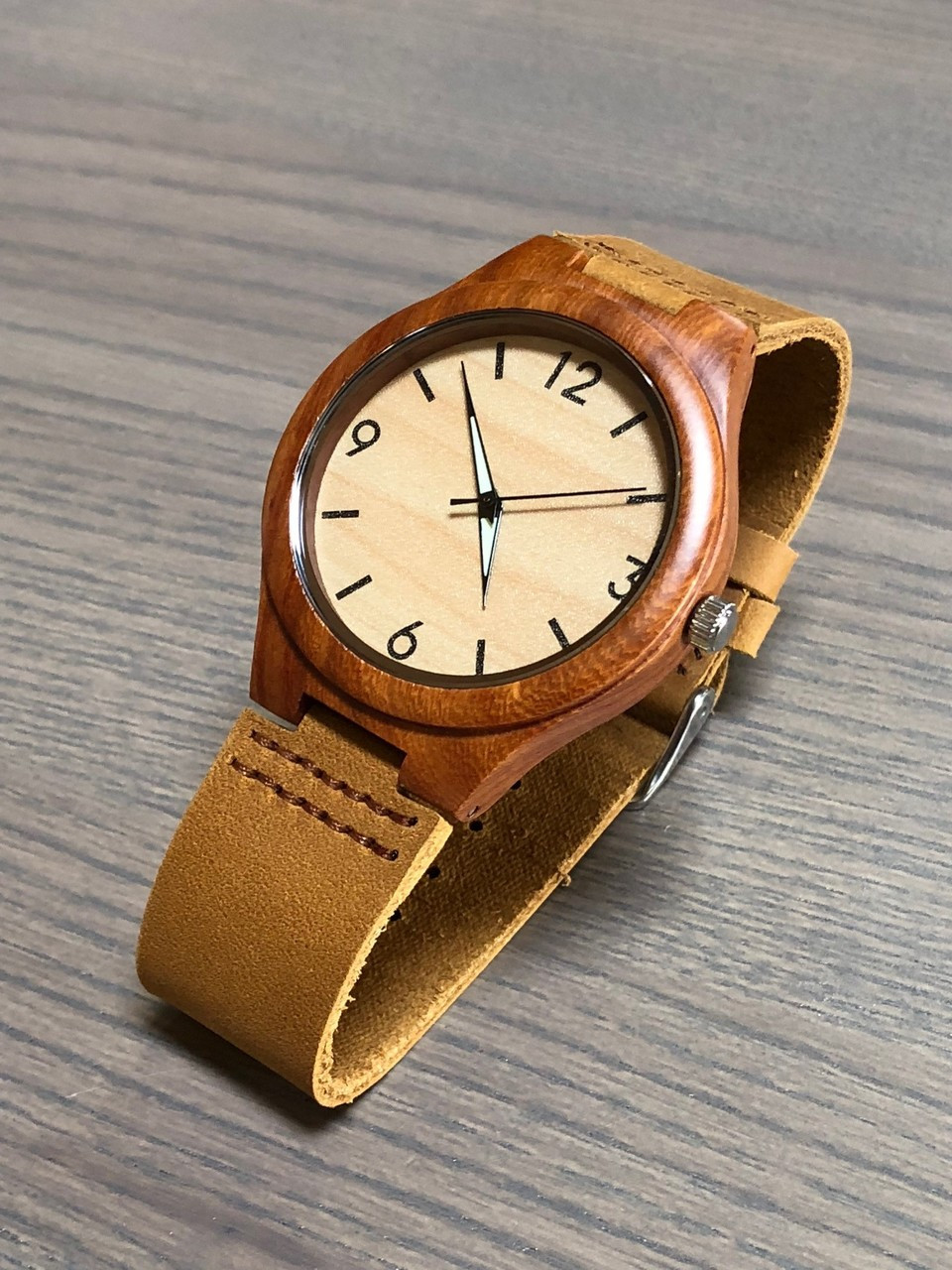 Wood Engraved Watch W#60