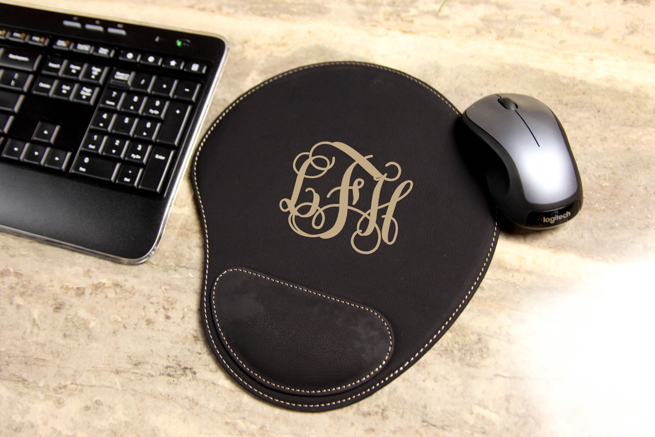 Personalized Leather Mouse Pad - Vine Monogram