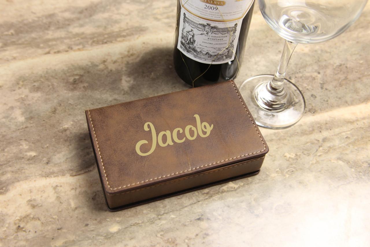 Leather Wine Opener Gift Set -  Cursive