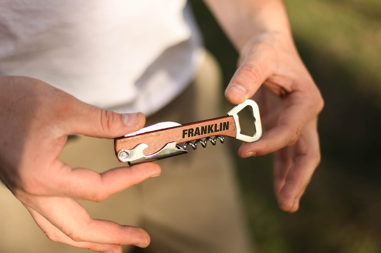 Personalized Cork Screw Bottle Opener - Bold