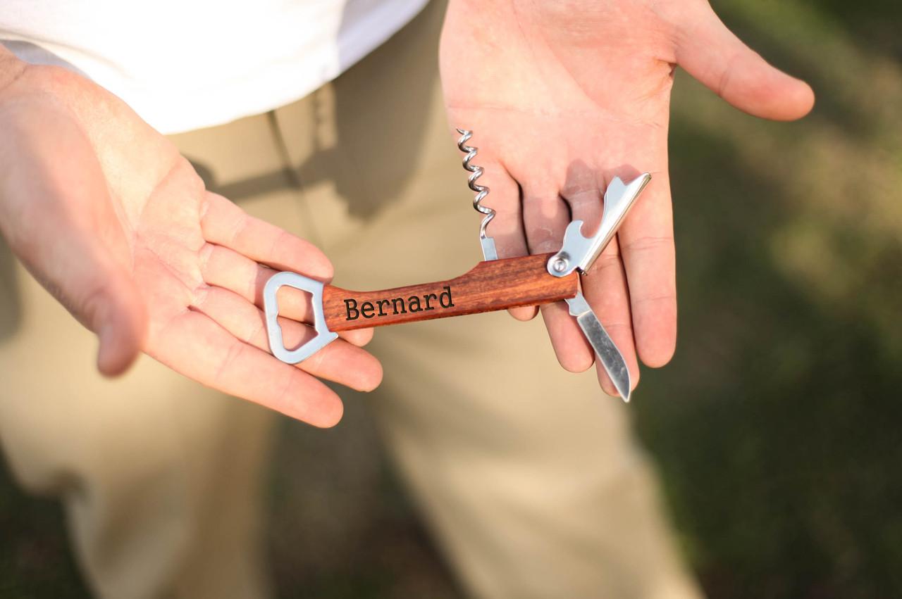 Personalized Cork Screw Bottle Opener - Serif