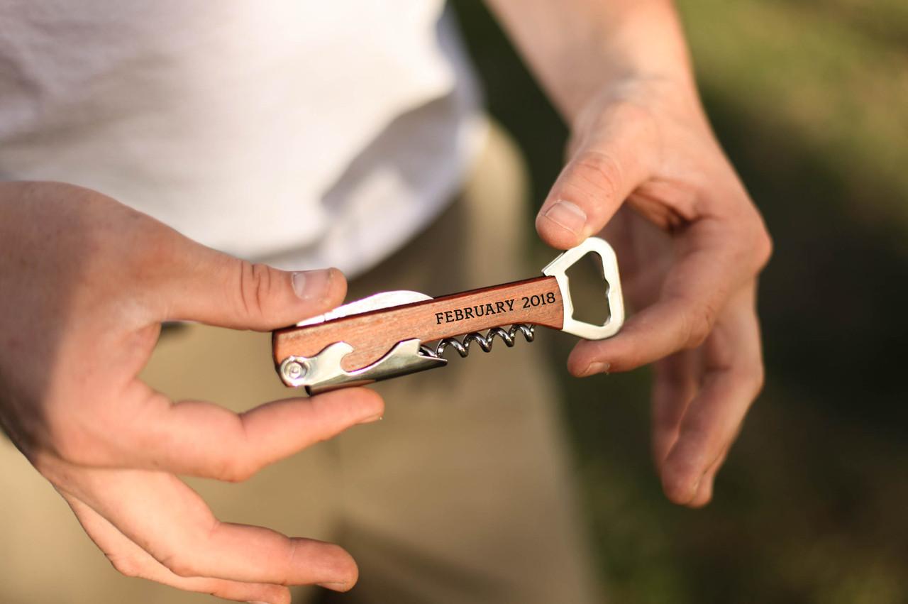 Personalized Cork Screw Bottle Opener - Date Letters
