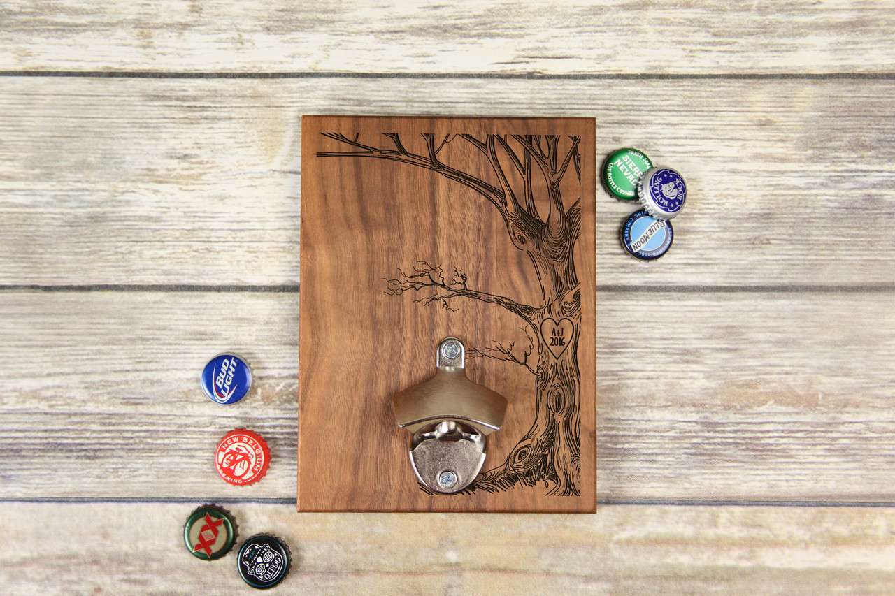 Personalized  Walnut Wood Bottle Opener - Love Tree