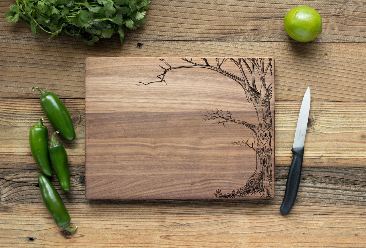 Walnut Personalized Cutting Board ~  Love Tree