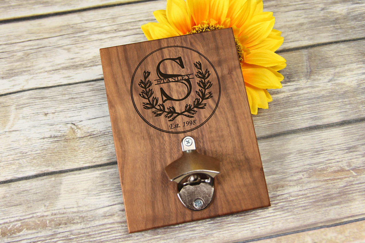 Personalized Walnut Wood Bottle Opener Wreath Initial Cabanyco