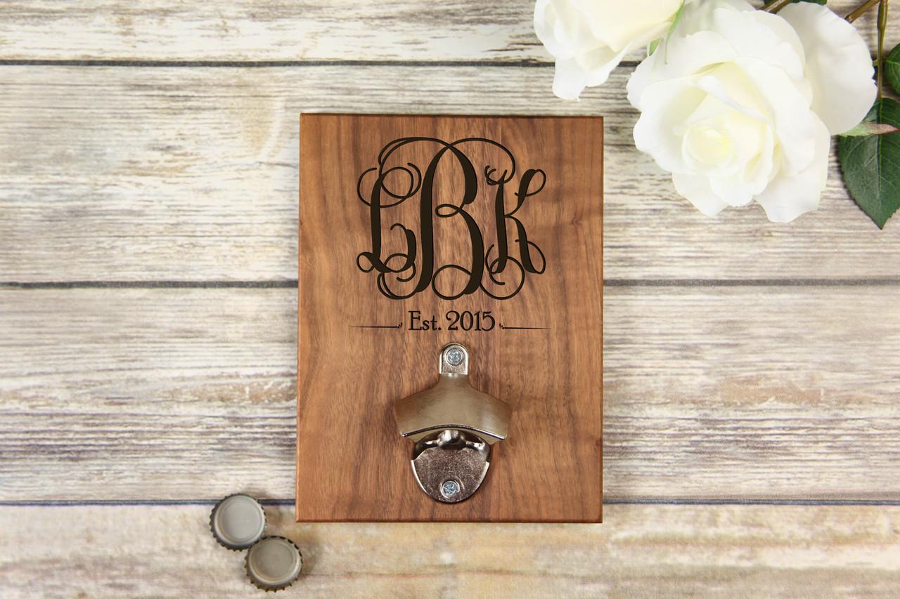 Personalized  Walnut Wood Bottle Opener - Vine Monogram