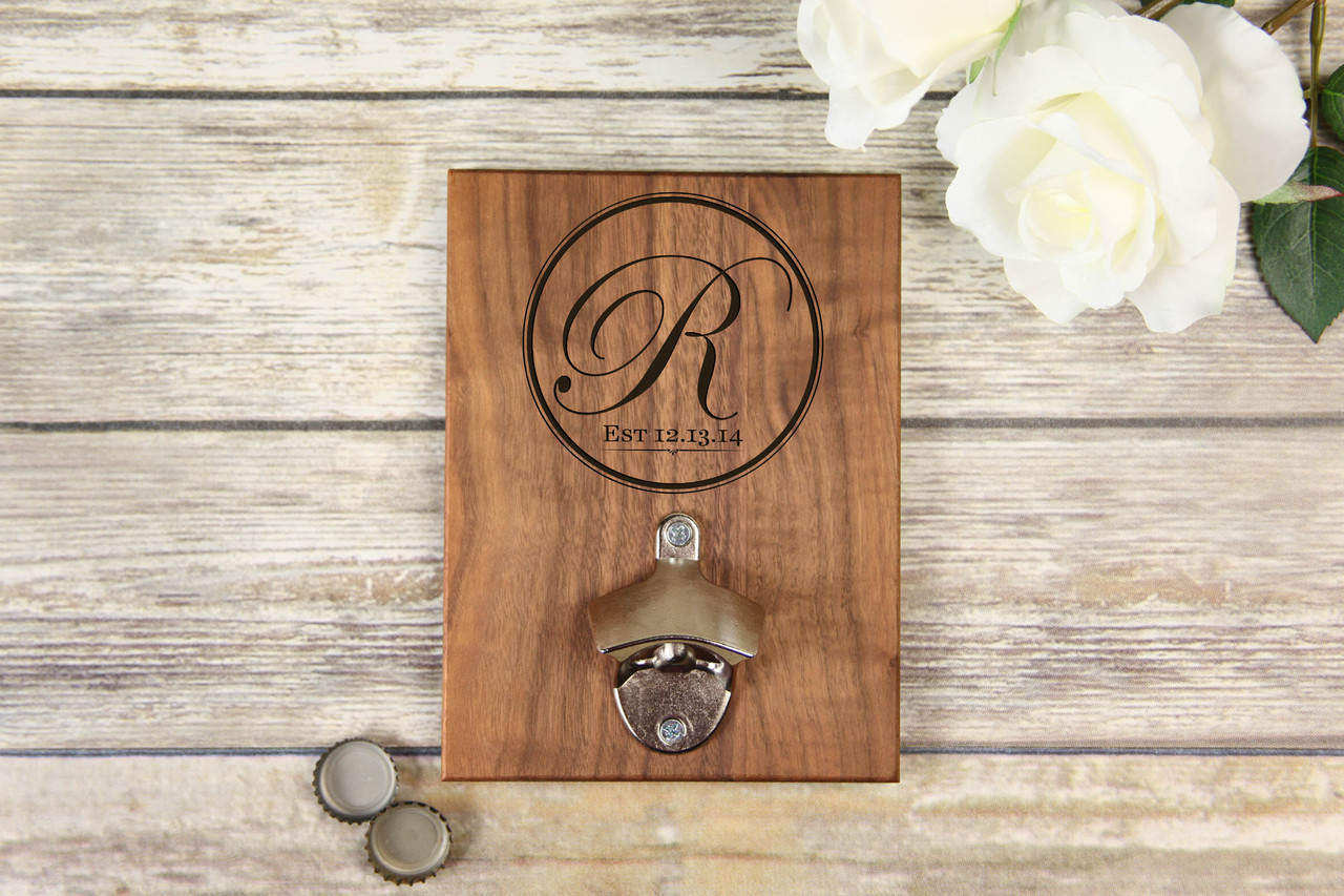 Personalized  Walnut Wood Bottle Opener - Fancy Initial