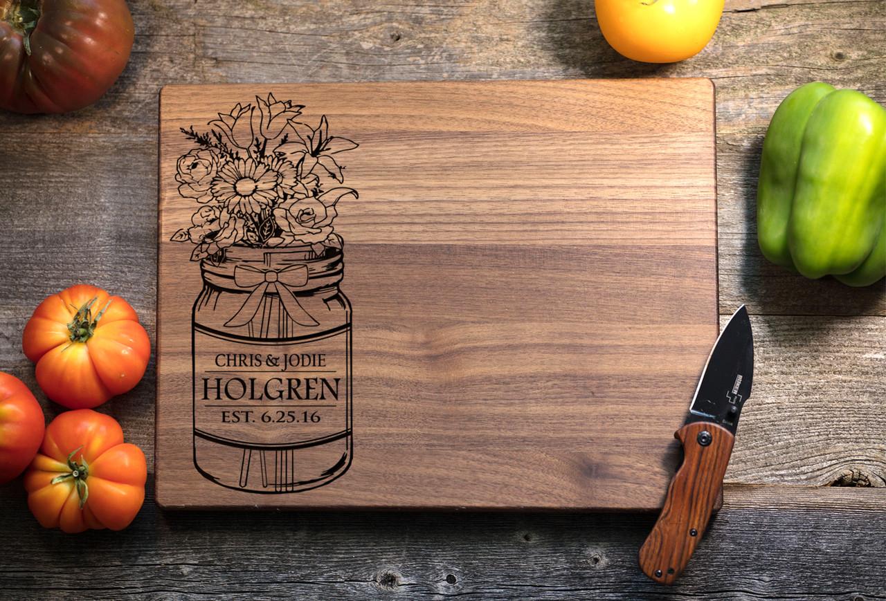 Walnut Personalized Cutting Board ~ Mason Jar