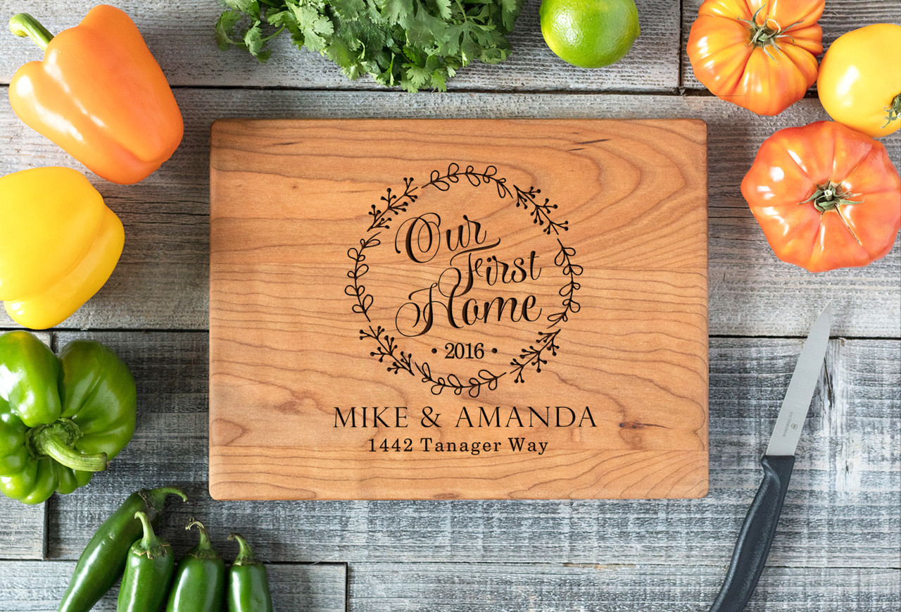 Cherry Personalized Cutting Board ~ Our First Home Wreath