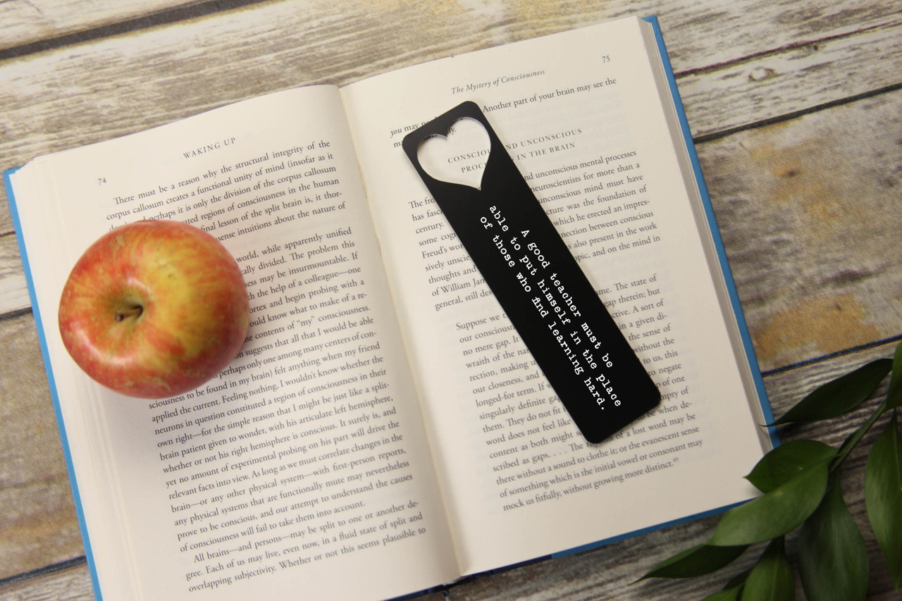 Engraved Bookmark - Large Heart Cutout 'Good Teacher'