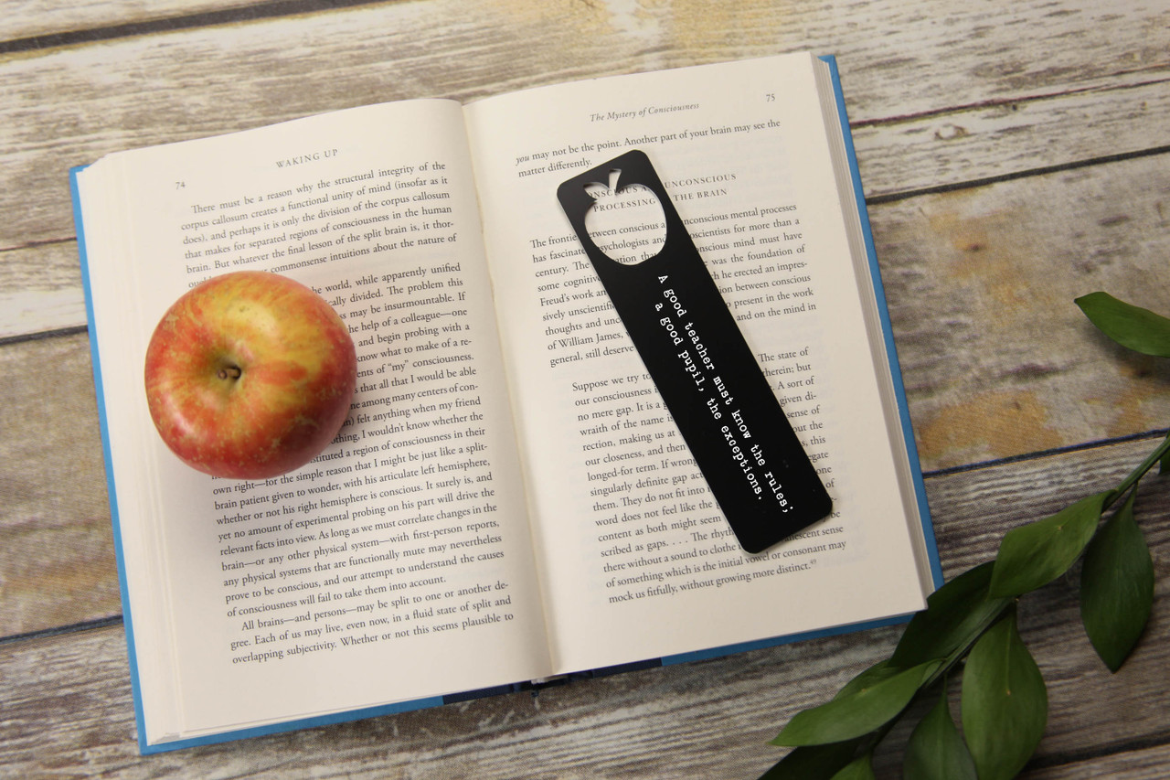 Engraved Bookmark - Large Apple Cutout 'Rules & Exceptions'