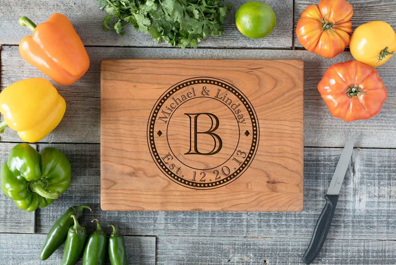 Cherry Personalized Cutting Board ~ Dotted Circle Names