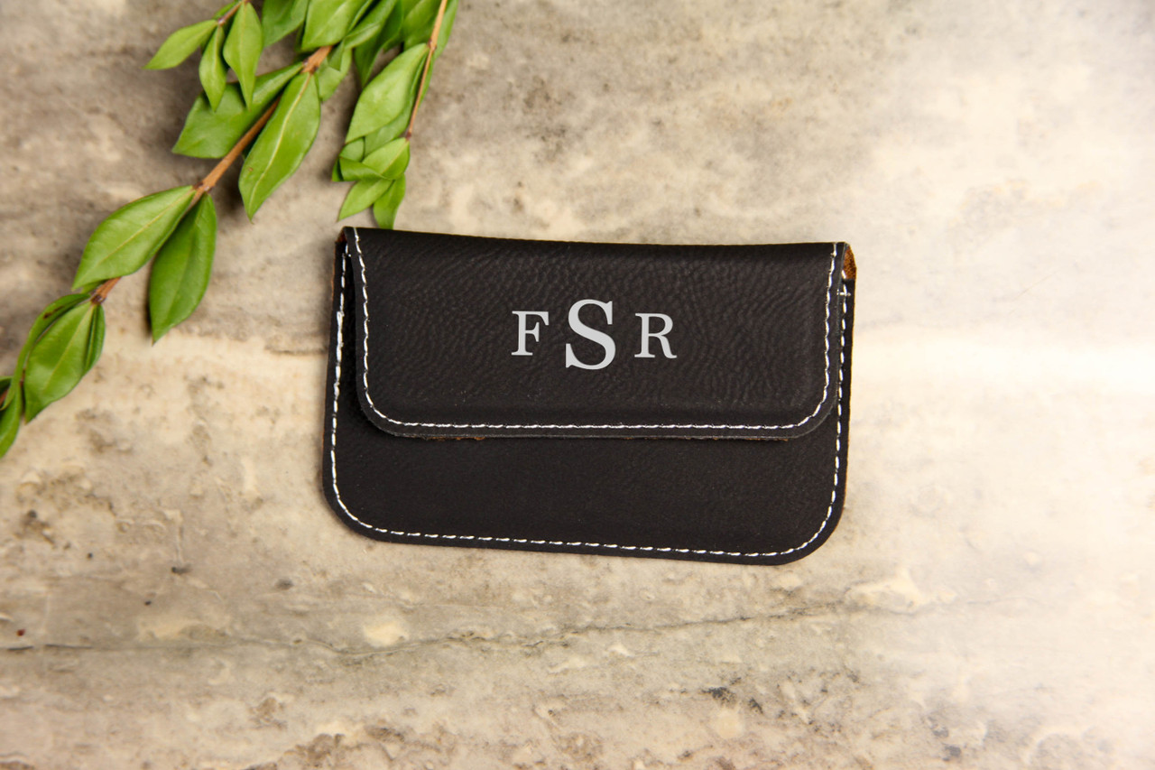Personalized Leather Business Card Wallet - Masculine Monogram