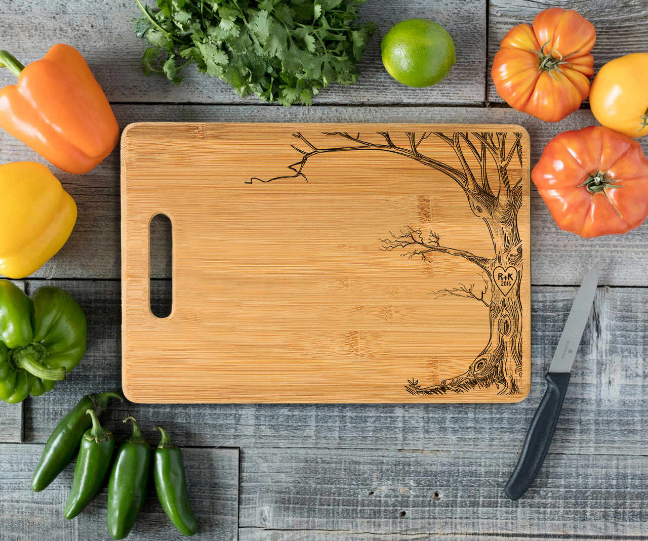 Handle Love Tree Initials Personalized Cutting Board