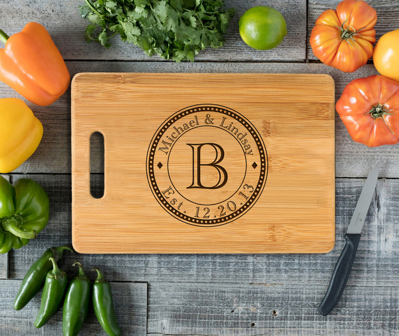 Handle Circle initial Personalized Cutting Board