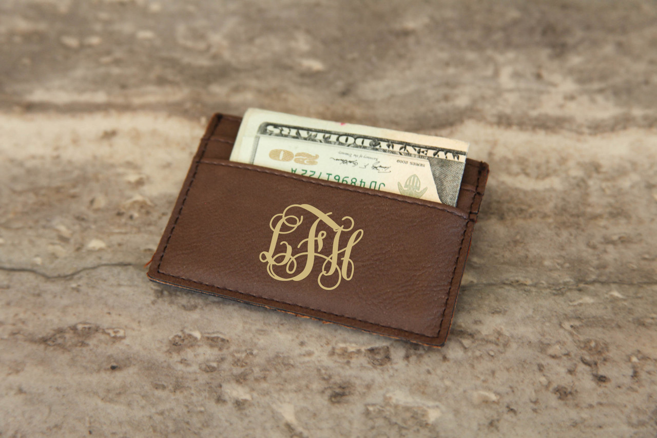 Personalized Leather Wallet - Vine Monogram