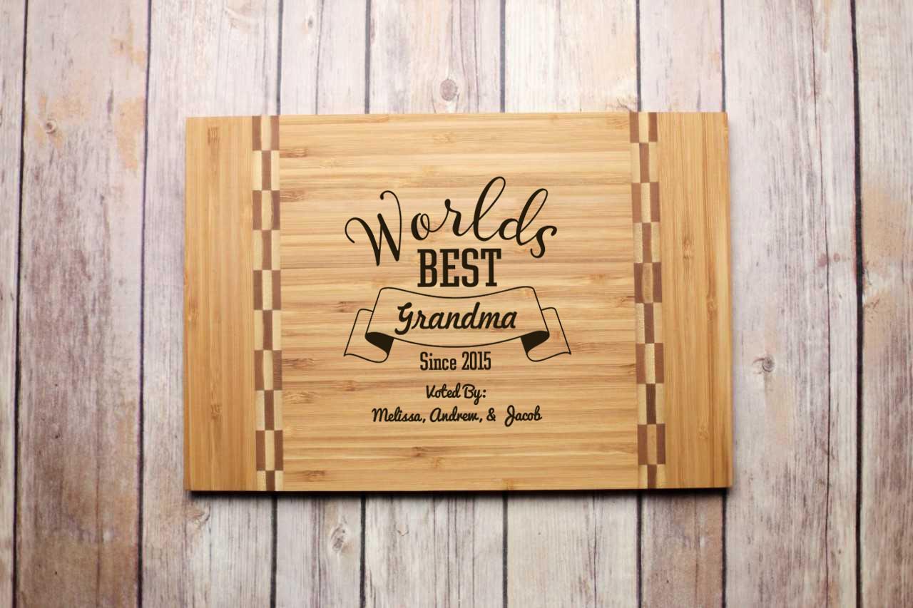 Inlay Personalized Cutting Board - World's Best Grandma