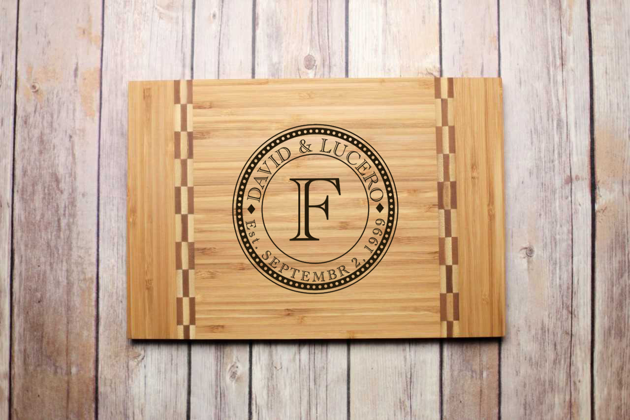 Inlay Personalized Cutting Board - Initial Stamp